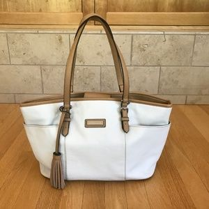 Tignanello White Pebbled Leather w/Tan Trim Tote